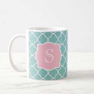 Mug Monogramme rose vert clair de Quatrefoil