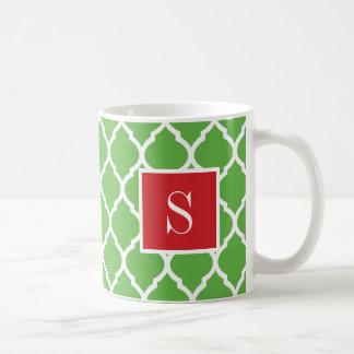 Mug Monogramme rouge et vert de Quatrefoil