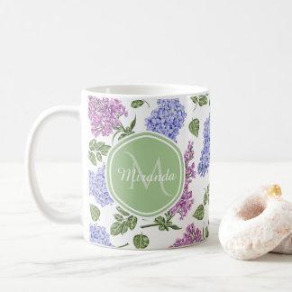 Mug Monogramme vert en pastel floral lilas de lavande