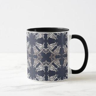 Mug motif bleu floral de style baroque