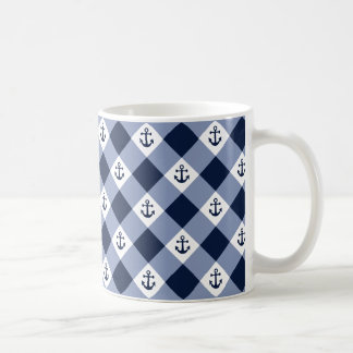 Mug Motif checkered nautique diagonal de guingan