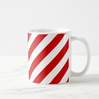 Mug Motif diagonal rouge et blanc de rayures
