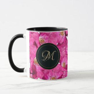 Mug Motif floral de rose de pavots. Monogramme
