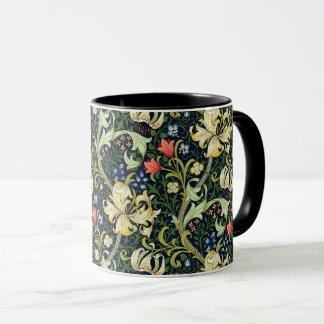 Mug Motif floral vintage William Morris de lis d'or