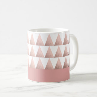Mug motif géométrique de triangles d'or rose de faux
