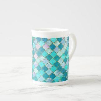 Mug Motif marocain oriental de tuile d'or turquoise