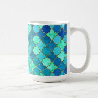 Mug Motif marocain oriental de tuile d'or turquoise en