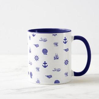 Mug Motif nautique de bleu marine et blanc