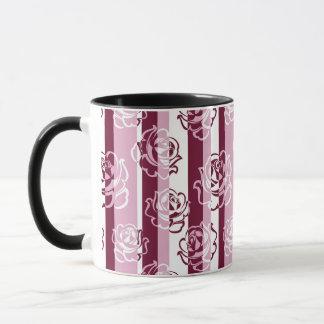 Mug Motif rayé avec des roses