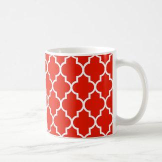 Mug Motif rouge de Quatrefoil de Marocain