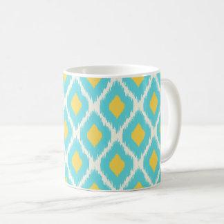 Mug Motif tribal aztèque jaune bleu à la mode d'Ikat