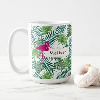 Mug Motif tropical de feuille et coutume rose de