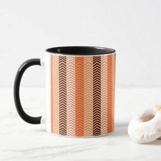 Mug Motif varié orange moderne de rayures de Chevron