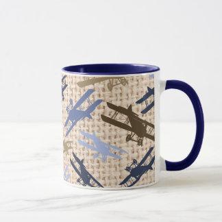 Mug Motif vintage d'avion d'impression de toile de
