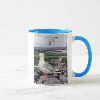Mug Mouettes d'harengs sur Shoreline rocheux