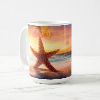 Mug Nautique - étoiles de mer et coucher du soleil