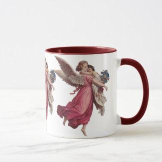 Mug Noël vintage, ange victorien tenant un enfant
