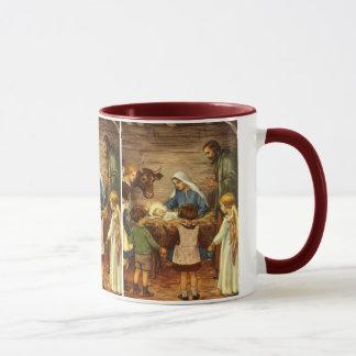 Mug Noël vintage, bébé religieux Jésus de la nativité