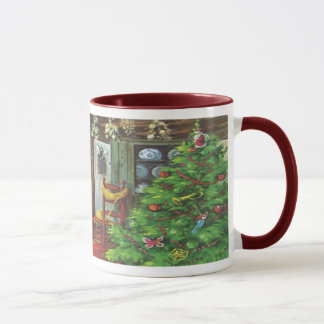 Mug Noël vintage, cabine de rondin confortable avec la