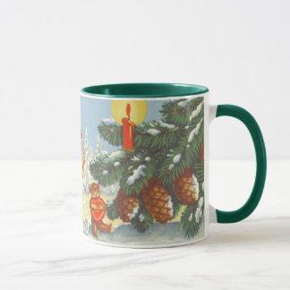 Mug Noël vintage, elfes pendant l'hiver de forêt de