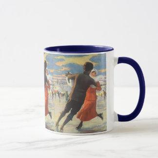 Mug Noël vintage, patinage de glace romantique de