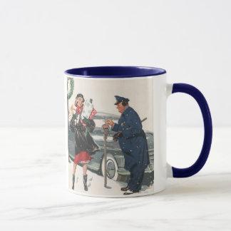 Mug Noël vintage, policier de achat de présents