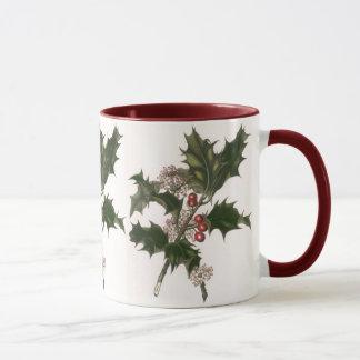 Mug Noël vintage, usine de houx avec les baies rouges