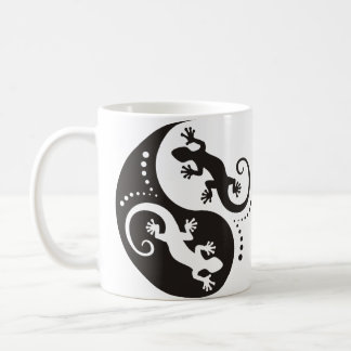 Mug Noir de Geckos de YIN et de YANG + votre arrière -