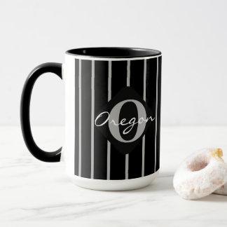 Mug Noir et gris barre le café Tasse-Orégon