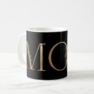 Mug Noir et maman botanique de typographie de feuille