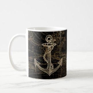 Mug Noir nautique de monogramme d'ancre de Vieux Monde