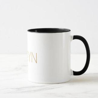 Mug Noir personnalisé d'or de Robyn de police de