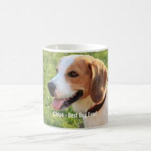 Mug Nom personnalisé de photo de chien de beagle et de