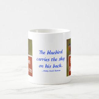 Mug Oiseau bleu avec la citation de Thoreau 15 onces