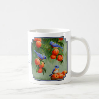 Mug Oiseaux bleus dans un verger de pêcher