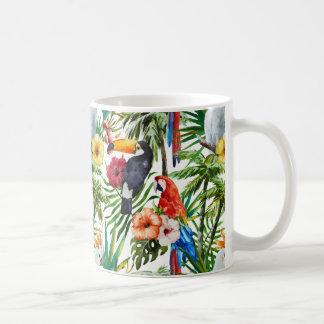Mug Oiseaux d'aquarelle et motif tropicaux de