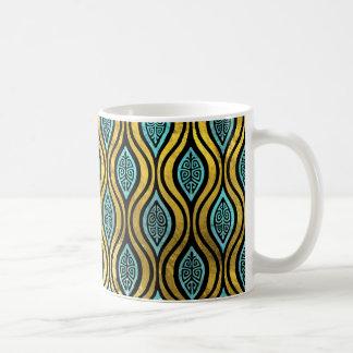 Mug Or de Bohème ethnique et motif en verre bleu