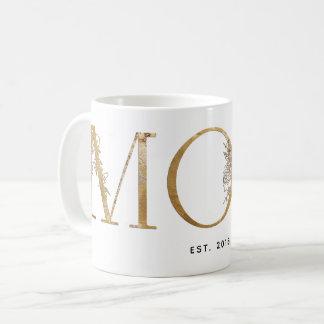 Mug Or et est botanique blanc 2018 de maman de