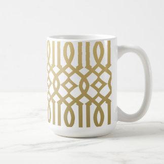 Mug Or et motif moderne blanc de treillis