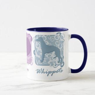 Mug Paix, amour, et whippets en pastel