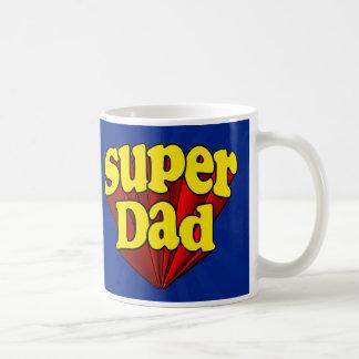 Mug Papa superbe, super héros rouge/jaune/fête des