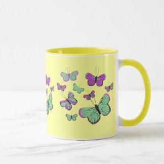 Mug Papillons roses et verts