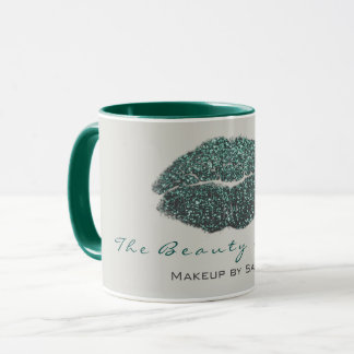 Mug Parties scintillantes grises turquoises de lèvre