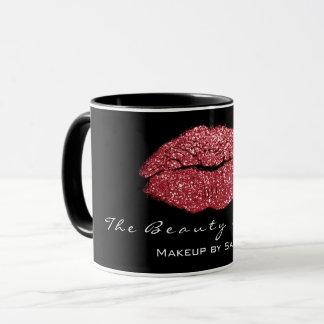 Mug Parties scintillantes noires rouges de lèvres de