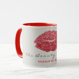 Mug Parties scintillantes rouges grises de lèvres de