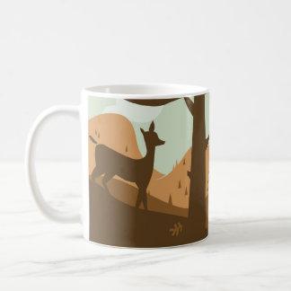 Mug Paysage d'automne avec des cerfs communs