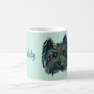 Mug Peinture d'art de bruit de Yorkie dans le bleu et