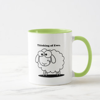 Mug Pensée à la bande dessinée mignonne de moutons