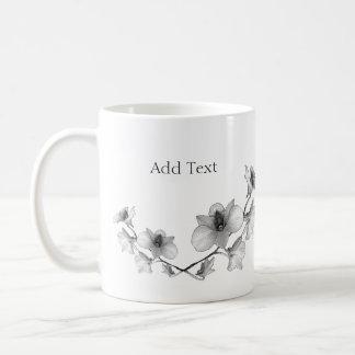 Mug Personnalisez l'orchidée noire et blanche