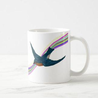 Mug Petit oiseau bleu avec l'arc-en-ciel